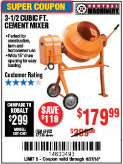 Harbor Freight Coupon 3-1/2 CUBIC FT. CEMENT MIXER Lot No. 67536/61932 Expired: 8/27/18 - $179.99