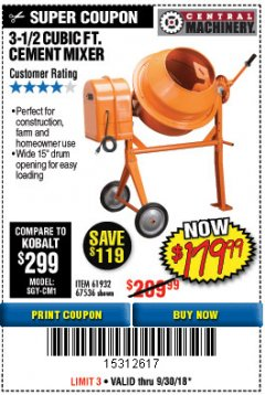 Harbor Freight Coupon 3-1/2 CUBIC FT. CEMENT MIXER Lot No. 67536/61932 Expired: 9/30/18 - $179.99