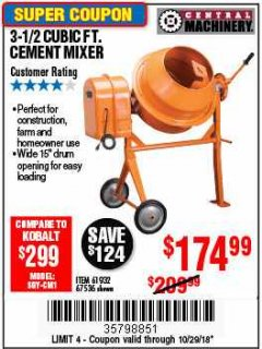 Harbor Freight Coupon 3-1/2 CUBIC FT. CEMENT MIXER Lot No. 67536/61932 EXPIRES: 10/29/18 - $174.99