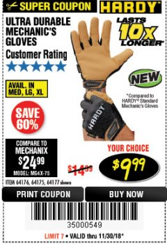 Harbor Freight Coupon ULTRA DURABLE MECHANIC'S GLOVES Lot No. 64175/64176/64177 Expired: 11/30/18 - $9.99