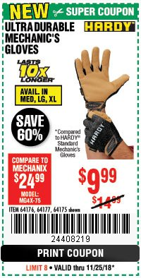 Harbor Freight Coupon ULTRA DURABLE MECHANIC'S GLOVES Lot No. 64175/64176/64177 Expired: 11/25/18 - $9.99