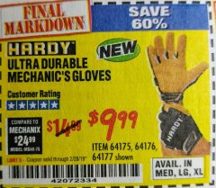 Harbor Freight Coupon ULTRA DURABLE MECHANIC'S GLOVES Lot No. 64175/64176/64177 Expired: 2/28/19 - $9.99