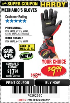 Harbor Freight Coupon ULTRA DURABLE MECHANIC'S GLOVES Lot No. 64175/64176/64177 Expired: 6/30/19 - $9.99