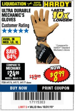 Harbor Freight Coupon ULTRA DURABLE MECHANIC'S GLOVES Lot No. 64175/64176/64177 Valid Thru: 10/31/19 - $8.99