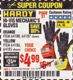 Harbor Freight Coupon HI-VIS MECHANIC'S GLOVES ORANGE/YELLOW Lot No. 64188/64187/64185/64186 Expired: 12/31/18 - $4.99