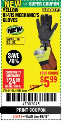 Harbor Freight Coupon YELLOW HI-VIS MECHANIC'S GLOVES Lot No. 64186/64185 Expired: 9/9/18 - $5.99
