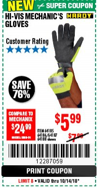 Harbor Freight Coupon YELLOW HI-VIS MECHANIC'S GLOVES Lot No. 64186/64185 Expired: 10/14/18 - $5.99