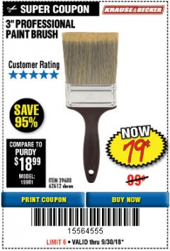"Harbor Freight Coupon 3"" PROFESSIONAL PAINT BRUSH Lot No. 39688/62612 Expired: 9/30/18 - $0.79"