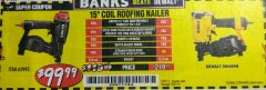 Harbor Freight Coupon BANKS 15DEG. COIL ROOFING NAILER Lot No. 63993 EXPIRES: 10/31/18 - $99.99