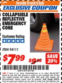 Harbor Freight ITC Coupon COLLAPSIBLE REFLECTIVE EMERGENCY CONE Lot No. 94111 Expired: 9/30/18 - $7.99