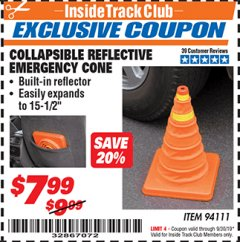Harbor Freight ITC Coupon COLLAPSIBLE REFLECTIVE EMERGENCY CONE Lot No. 94111 Valid Thru: 9/30/19 - $7.99