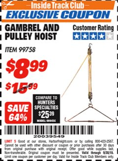 Harbor Freight ITC Coupon GAMBREL AND PULLEY HOIST Lot No. 99758 Expired: 9/30/18 - $8.99