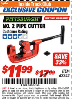 Harbor Freight ITC Coupon NO. 2 PIPE CUTTER Lot No. 62243 Expired: 9/30/18 - $11.99