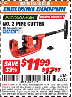 Harbor Freight ITC Coupon NO. 2 PIPE CUTTER Lot No. 62243 Expired: 8/31/19 - $11.99