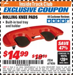 Harbor Freight ITC Coupon ROLLING KNEE PADS Lot No. 67406 Expired: 12/31/18 - $14.99