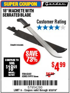 "Harbor Freight Coupon 18"" MACHETE WITH SERRATED BLADE Lot No. 60641/62113/62682/62683/69910 Expired: 8/20/18 - $4.99"
