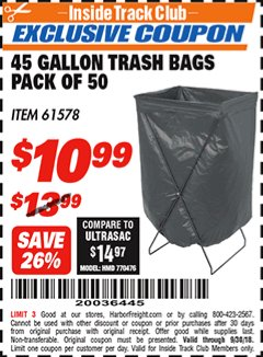 Harbor Freight ITC Coupon 45 GALLON TRASH BAGS PACK OF 50 Lot No. 61578 Expired: 9/30/18 - $10.99
