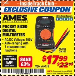 Harbor Freight ITC Coupon POCKET SIZED DIGITAL MULTIMETER Lot No. 64018 Expired: 9/30/19 - $17.99