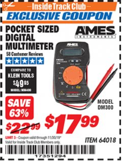 Harbor Freight ITC Coupon POCKET SIZED DIGITAL MULTIMETER Lot No. 64018 Expired: 11/30/19 - $17.99