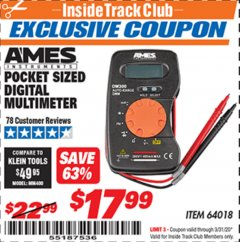 Harbor Freight ITC Coupon POCKET SIZED DIGITAL MULTIMETER Lot No. 64018 Expired: 3/31/20 - $17.99