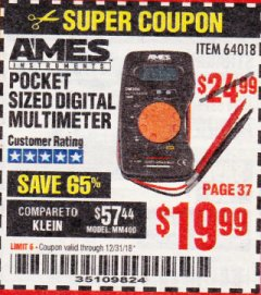 Harbor Freight Coupon POCKET SIZED DIGITAL MULTIMETER Lot No. 64018 Expired: 12/31/18 - $19.99