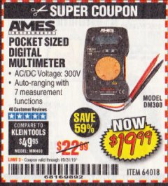 Harbor Freight Coupon POCKET SIZED DIGITAL MULTIMETER Lot No. 64018 Expired: 10/31/19 - $19.99