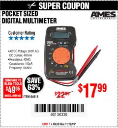 Harbor Freight Coupon POCKET SIZED DIGITAL MULTIMETER Lot No. 64018 Expired: 11/10/19 - $17.9