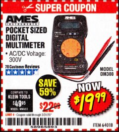 Harbor Freight Coupon POCKET SIZED DIGITAL MULTIMETER Lot No. 64018 Expired: 3/31/20 - $19.99