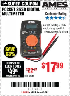 Harbor Freight Coupon POCKET SIZED DIGITAL MULTIMETER Lot No. 64018 Expired: 6/30/20 - $17.99