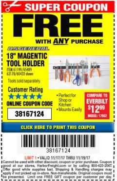 "Harbor Freight FREE Coupon 18"" MAGNETIC TOOL HOLDER Lot No. 65489/60433/61199/62178 Expired: 11/19/17 - FWP"