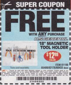 "Harbor Freight FREE Coupon 18"" MAGNETIC TOOL HOLDER Lot No. 65489/60433/61199/62178 Expired: 3/1/18 - FWP"