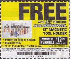 "Harbor Freight FREE Coupon 18"" MAGNETIC TOOL HOLDER Lot No. 65489/60433/61199/62178 Expired: 6/25/18 - FWP"