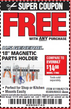 "Harbor Freight FREE Coupon 18"" MAGNETIC TOOL HOLDER Lot No. 65489/60433/61199/62178 Valid Thru: 11/1/18 - FWP"