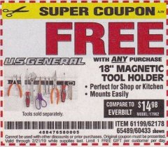 "Harbor Freight FREE Coupon 18"" MAGNETIC TOOL HOLDER Lot No. 65489/60433/61199/62178 Expired: 2/21/19 - FWP"
