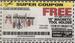"Harbor Freight FREE Coupon 18"" MAGNETIC TOOL HOLDER Lot No. 65489/60433/61199/62178 Expired: 5/20/19 - FWP"