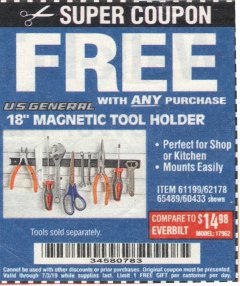 "Harbor Freight FREE Coupon 18"" MAGNETIC TOOL HOLDER Lot No. 65489/60433/61199/62178 Expired: 7/3/19 - FWP"