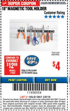 "Harbor Freight ITC Coupon 18"" MAGNETIC TOOL HOLDER Lot No. 65489/60433/61199/62178 Expired: 3/8/18 - $4"