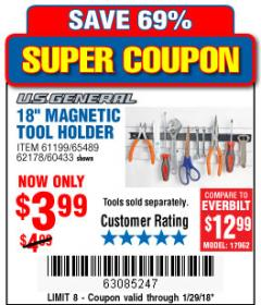 "Harbor Freight Coupon 18"" MAGNETIC TOOL HOLDER Lot No. 65489/60433/61199/62178 Expired: 1/29/18 - $3.99"
