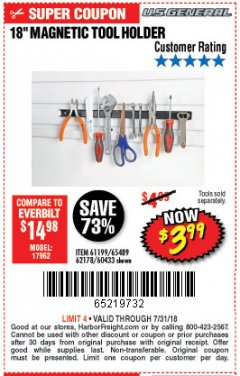 "Harbor Freight Coupon 18"" MAGNETIC TOOL HOLDER Lot No. 65489/60433/61199/62178 Valid Thru: 7/31/18 - $3.99"