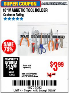 "Harbor Freight Coupon 18"" MAGNETIC TOOL HOLDER Lot No. 65489/60433/61199/62178 Valid Thru: 7/23/18 - $3.99"