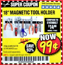"Harbor Freight Coupon 18"" MAGNETIC TOOL HOLDER Lot No. 65489/60433/61199/62178 Expired: 10/31/18 - $0.99"