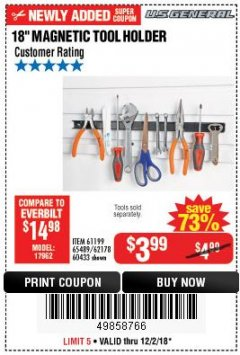 "Harbor Freight Coupon 18"" MAGNETIC TOOL HOLDER Lot No. 65489/60433/61199/62178 Expired: 12/2/18 - $3.99"