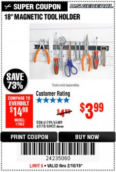 "Harbor Freight Coupon 18"" MAGNETIC TOOL HOLDER Lot No. 65489/60433/61199/62178 Expired: 2/10/19 - $3.99"