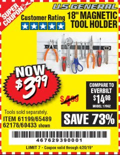 "Harbor Freight Coupon 18"" MAGNETIC TOOL HOLDER Lot No. 65489/60433/61199/62178 Expired: 4/20/19 - $3.99"
