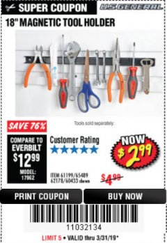 "Harbor Freight Coupon 18"" MAGNETIC TOOL HOLDER Lot No. 65489/60433/61199/62178 Expired: 3/31/19 - $2.99"