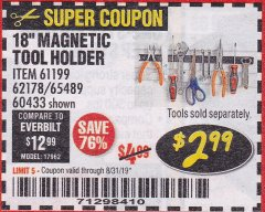 "Harbor Freight Coupon 18"" MAGNETIC TOOL HOLDER Lot No. 65489/60433/61199/62178 Expired: 8/31/19 - $2.99"