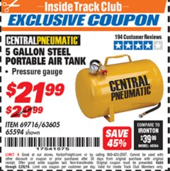 Harbor Freight ITC Coupon 5 GALLON PORTABLE AIR TANK Lot No. 69716/63605/65594 Dates Valid: 2/1/19 - 2/28/19 - $21.99