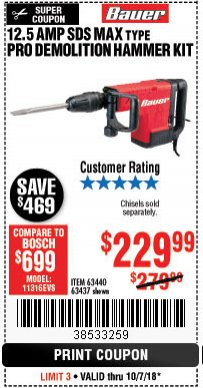 Harbor Freight Coupon 12.5 AMP DEMOLITION HAMMER KIT Lot No. 63440/63437 Expired: 10/7/18 - $229.99