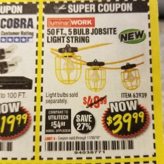 Harbor Freight Coupon 50 FT., 5 BULB JOBSITE LIGHT STRING Lot No. 63939 Expired: 11/30/18 - $39.99