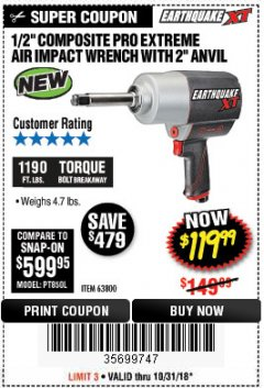 "Harbor Freight Coupon 1/2"" COMPOSITE PRO EXTREME AIR IMPACT WITH 2"" ANVIL Lot No. 63800 Expired: 10/31/18 - $119.99"